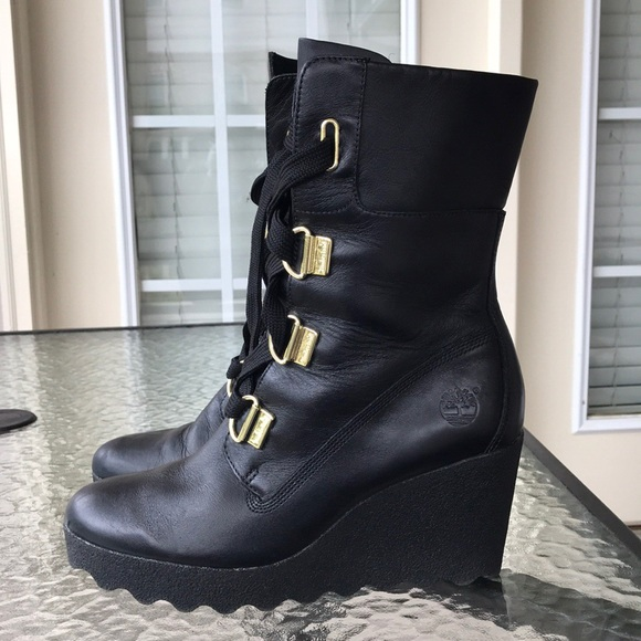 timberland wedge boots black